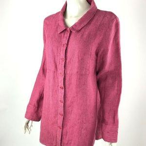 Flax Linen Button-Down Tunic Shirt Womens S